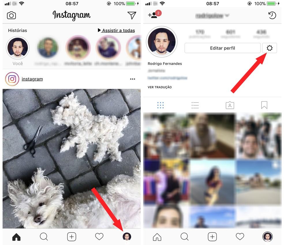 Acesse as configurações do Instagram para salvar dados de acesso (Foto: Reprodução/Rodrigo Fernandes)