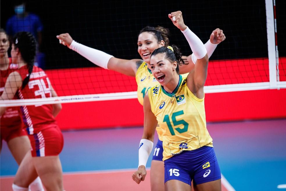 Brasil conquista a sexta vitória na Liga das Nações — Foto: Fivb / Divulgação