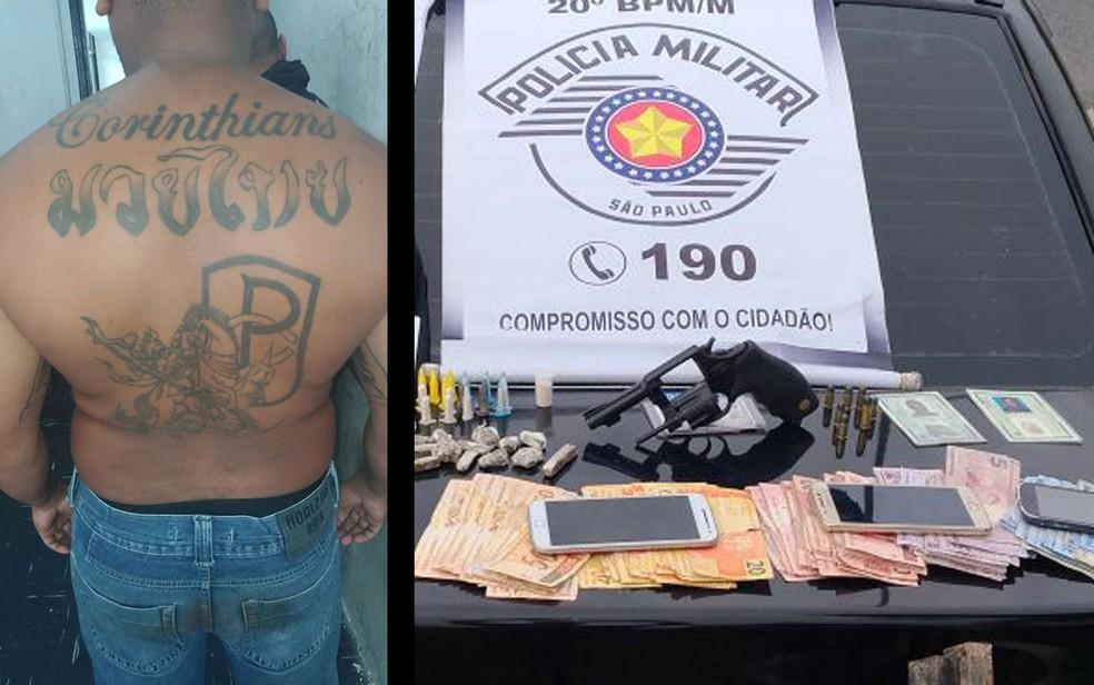 Corintiano suspeito detido; ao lado, arma, drogas e dinheiro apreendidos (Foto: Divulgação/PM)