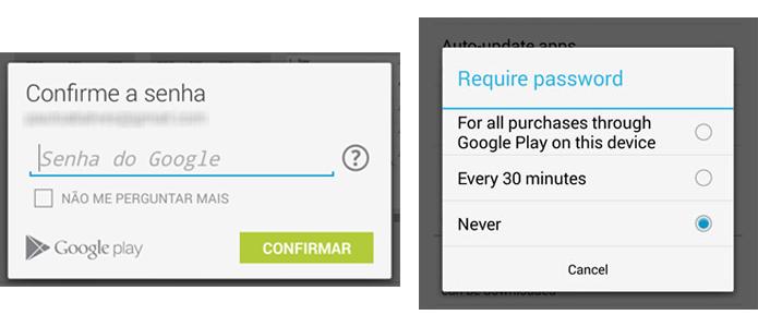 Google Play Store vai passar a oferecer três opções de exigiências de senha para compras de aplicativos e outros conteúdos Senha da Play Store, que antes podia ser dsesabilitada facilmente, poderá ser configurada de maneira mais clara e simples (Foto: Reprodução/Paulo Alves)