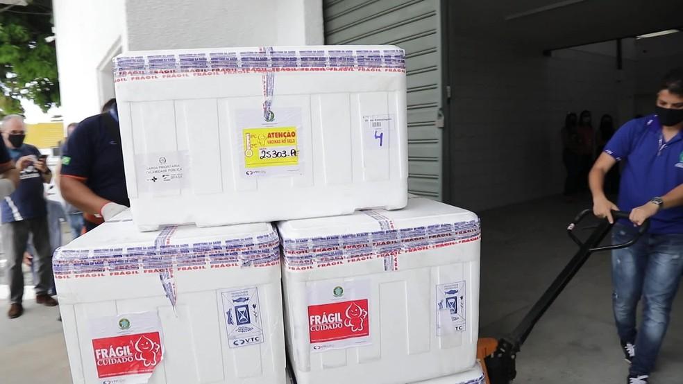 Novo lote de vacina contra Covid-19 chegou a Pernambuco na quarta-feira (24) — Foto: Reprodução/Governo de Pernambuco