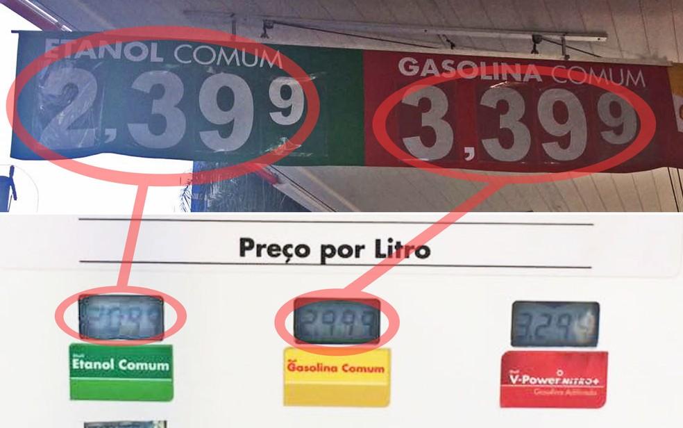 Posto da Zona Sul de SP muda preço de gasolina e etanol na faixa pendurada no teto, mas mantém na bomba o preço antigo (Foto: Aldieres Batista/G1)
