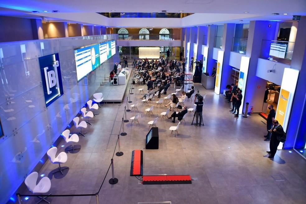 Leilão de aeroportos foi realizado na sede da B3, em São Pauo — Foto: Reprodução/Twitter/Ministério da Infraestrutura