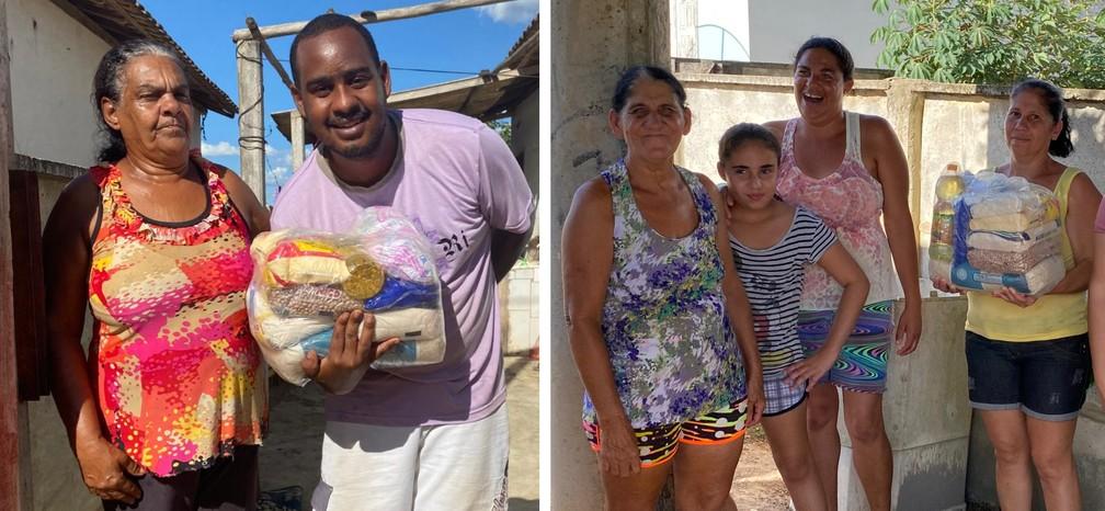 Entrega das cestas básicas doadas pelo atacante Richarlison, da Seleção Brasileira — Foto: Divulgação