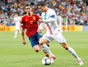 Cristiano Ronaldo na partida de Portugal contra a Espanha (Foto: AP)