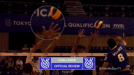 Brasil desafia e replay mostra toque no bloqueio - 2º set - 5 x 5