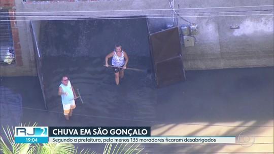 Chuva em São Gonçalo deixa 135 moradores desabrigados