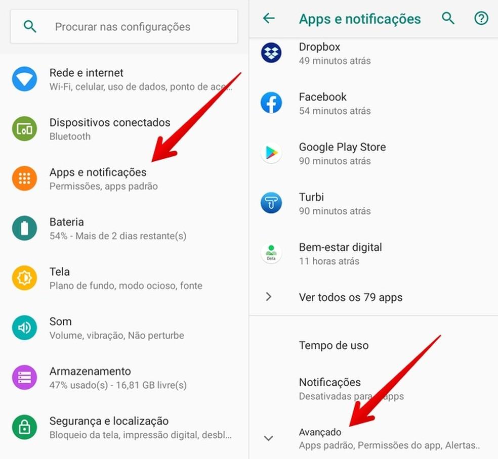 Acesse as configurações de apps — Foto: Reprodução/Helito Beggiora
