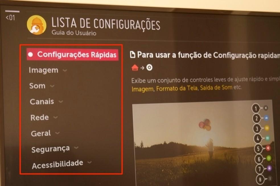 Dicas de configurações para uma smart TV da LG com WebOS — Foto: Reprodução/Marvin Costa