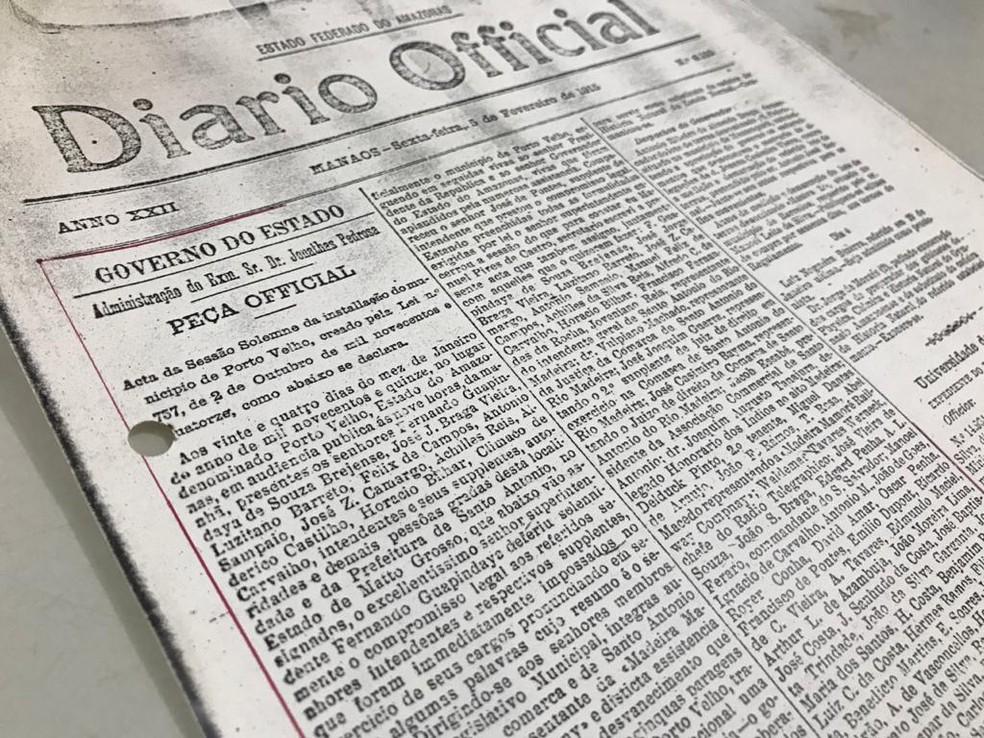 Diário Oficial de Manaus, de 5 de fevereiro de 1915, onde consta a instalação de Porto Velho. — Foto: Ana Kézia Gomes/G1