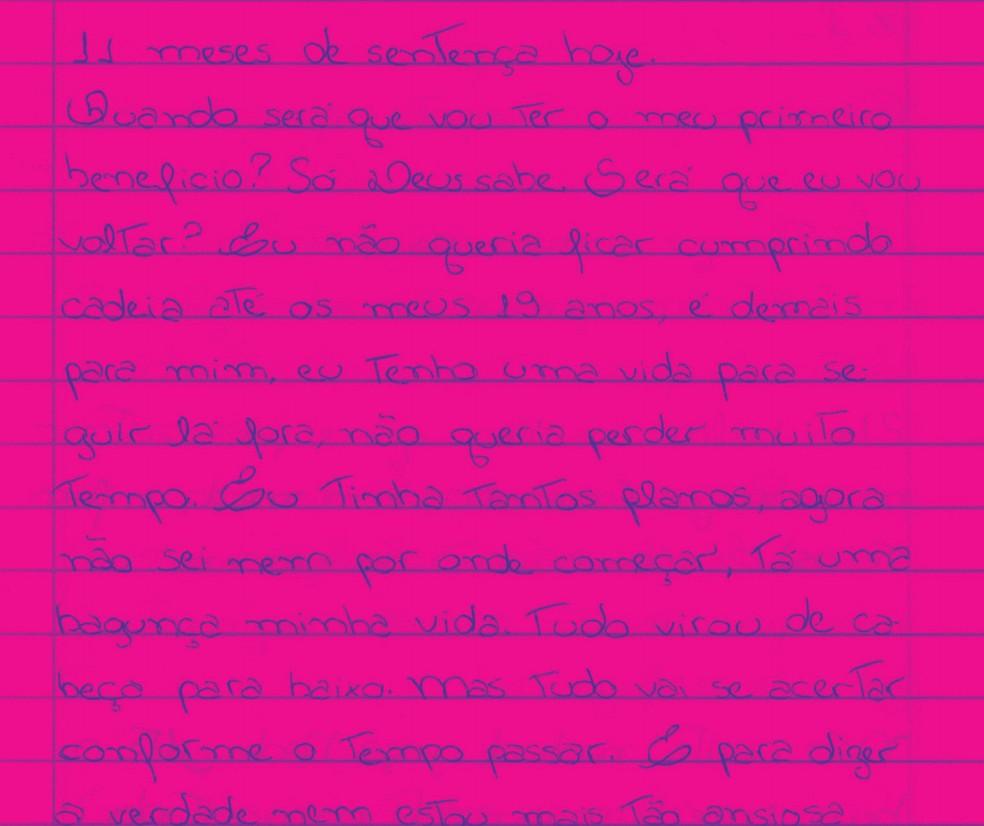 Carta escrita por Talia à professora Débora Diniz — Foto: Divulgação