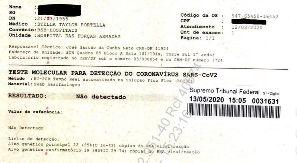 Laudo de um dos exames entregues pelo governo ao STF; presidente usou codinome ao enviar amostra — Foto: STF/Reprodução