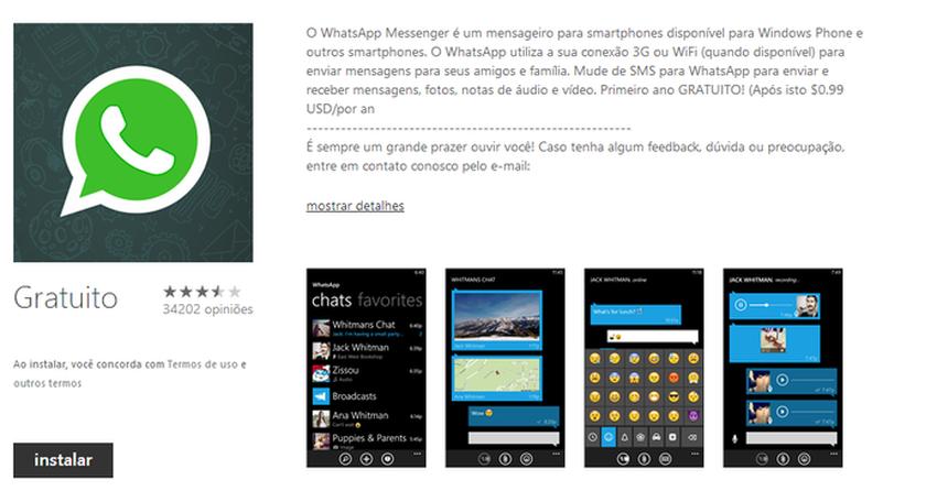 WhatsApp volta à loja do Windows Phone após quase duas semanas