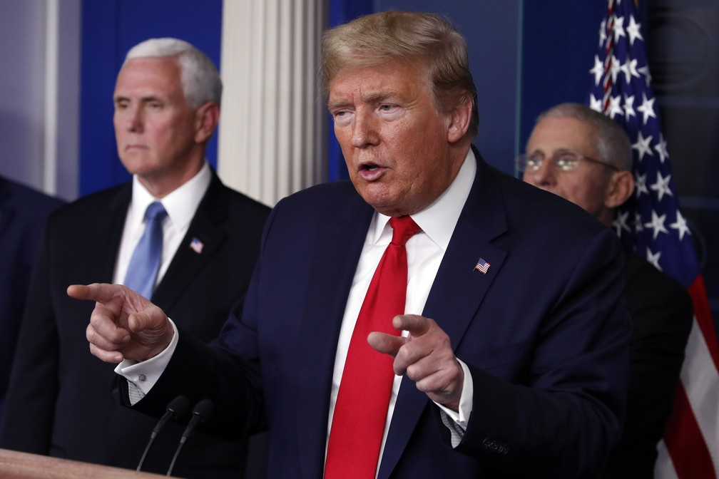 Presidente dos Estados Unidos, Donal Trump, em entrevista coletiva na Casa Branca — Foto: AP Photo/Alex Brandon