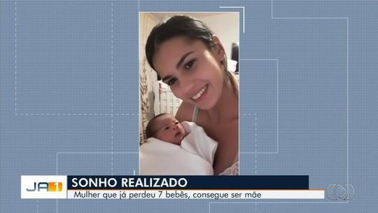 Após perder gêmeos e quíntuplos, jovem faz tratamento e realiza sonho de ser mãe, em Goiás: 'Fé foi maior'