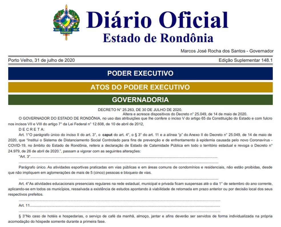 Decreto nº 25.263 do Governo de Rondônia — Foto: Diário Oficial de RO/Reprodução