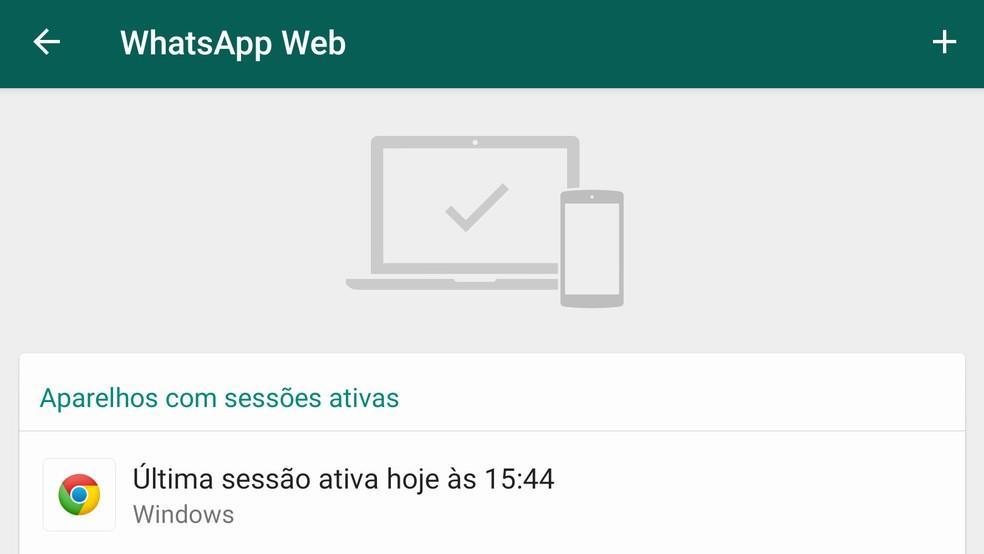 Sessões do WhatsApp Web devem ser encerradas dentro do aplicativo do WhatsApp. — Foto: Reprodução