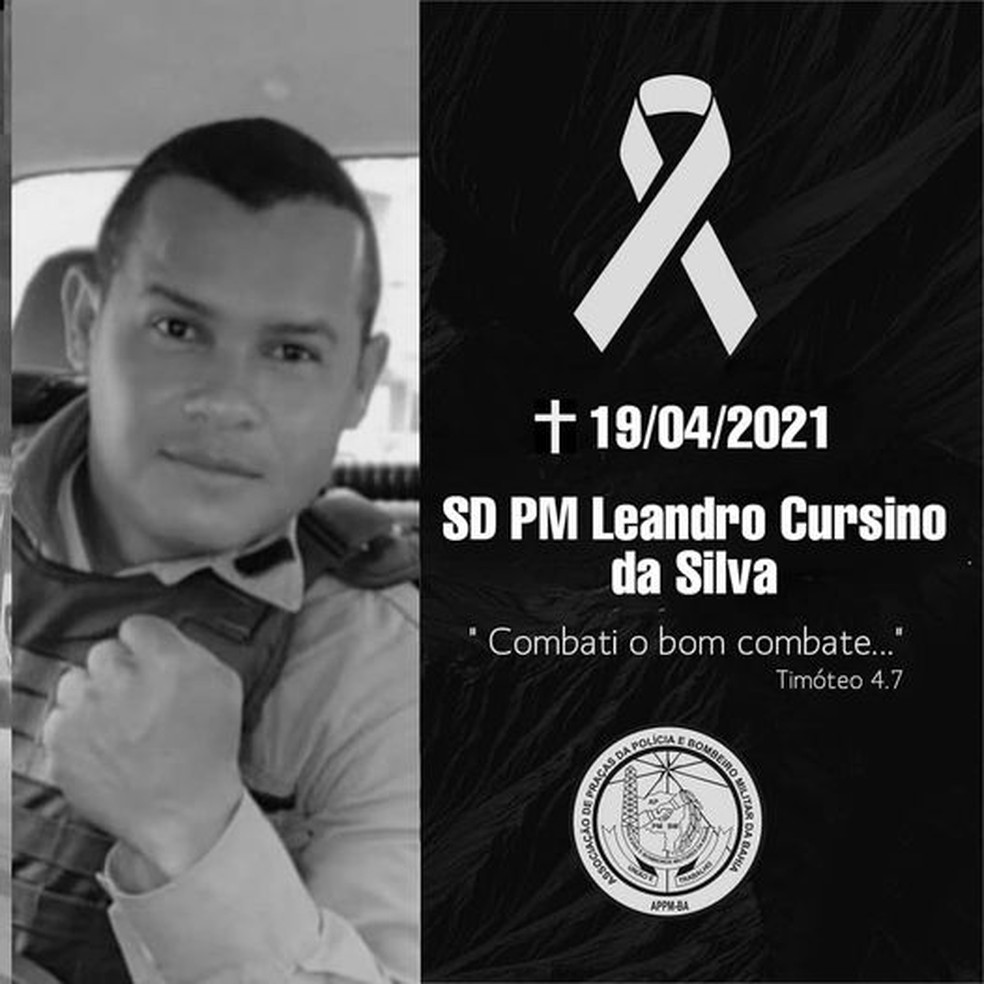 O soldado Leandro Cursino da Silva foi morto a tiros em abril deste ano — Foto: Divulgação/PM-BA