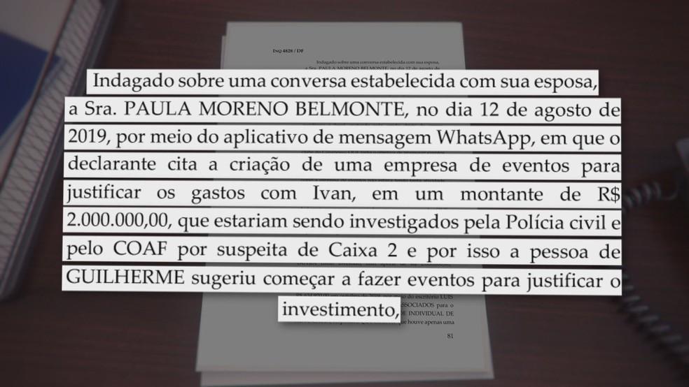 Trecho de investigação contra deputada federal Paula Belmonte e marido, Luís Felipe Belmonte — Foto: TV Globo/Reprodução