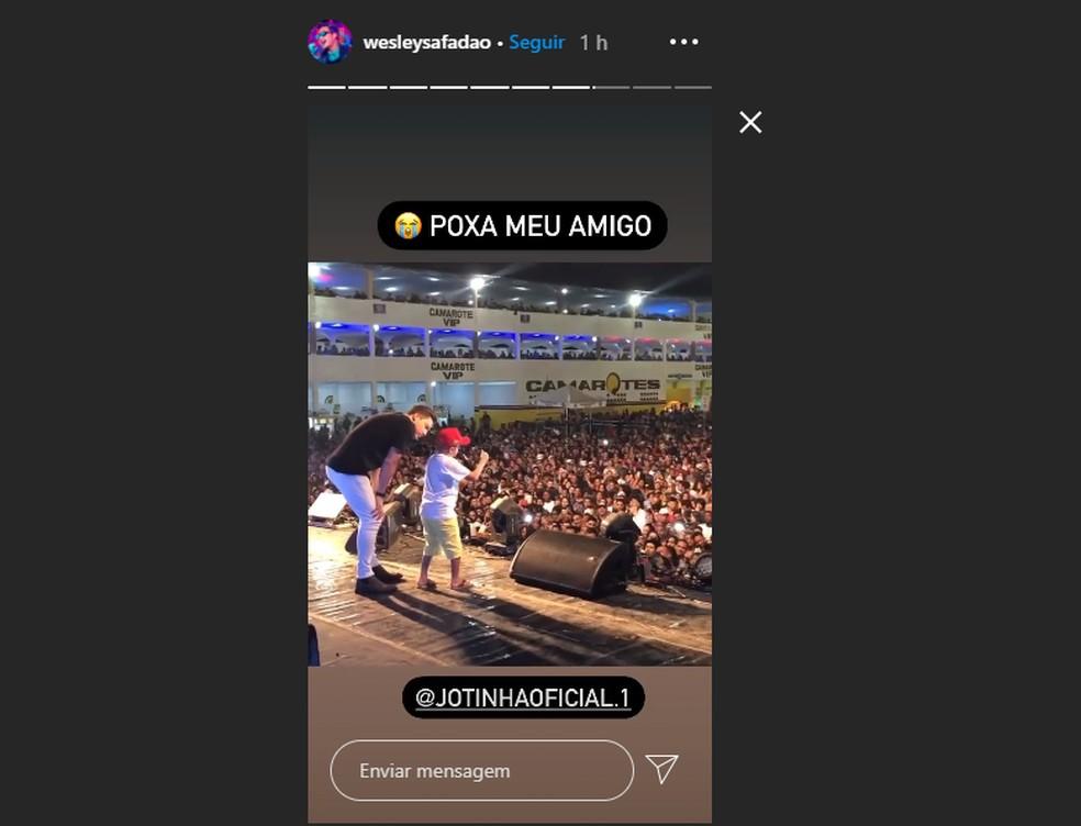 Wesley Safadão publicou nos stories do Instagram um vídeo onde Jotinha participava de um show do artista — Foto: Reprodução/Redes sociais
