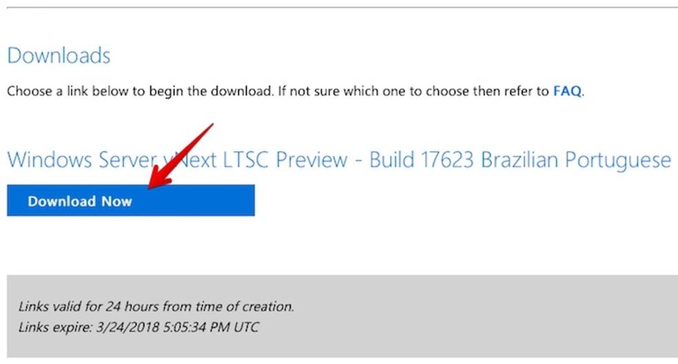 Baixando o Windows Server 2019 Preview (Foto: Reprodução/Helito Bijora)