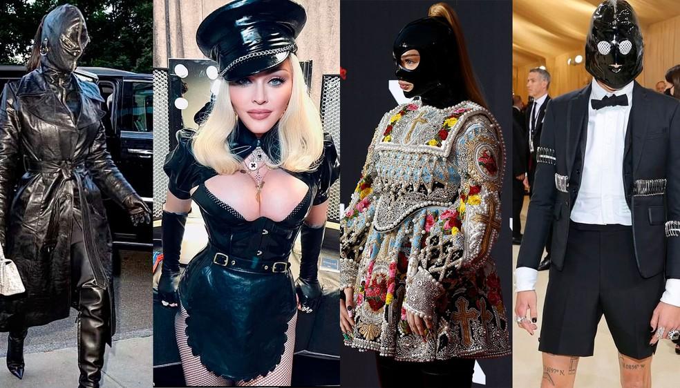 Da esquerda: Kim Kardashian chega ao Met Gala, Madonna no VMA, Kim Petras no VMA e Evan Mock (de 'Gossip girl') no Met Gala — Foto: Divulgação e Reuters