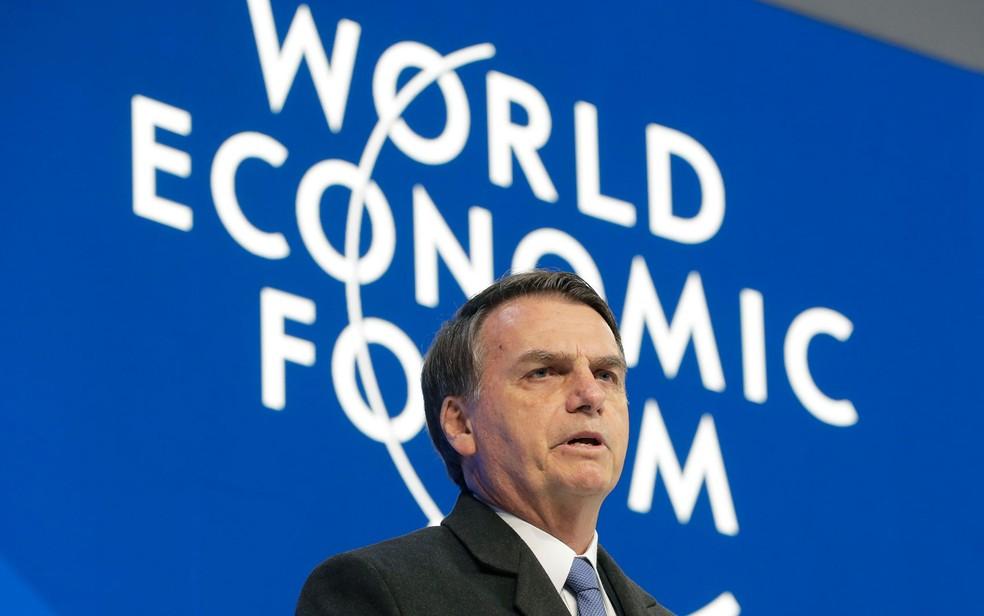 O presidente Jair Bolsonaro discursou nesta terça (22) no Fórum Econômico Mundial, em Davos — Foto: Markus Schreiber/AP