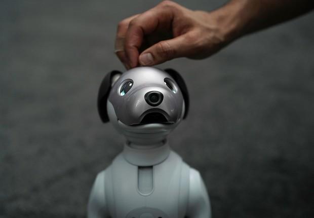 Última geração do cão robô Aibo, da Sony  (Foto: Alex Wong/Getty Images)
