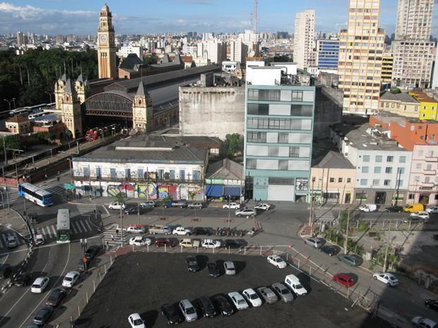 Área ao lado da estação da Luz a ser cedida ao Instituto Lula  (Foto: Roney Domingos/ G1)