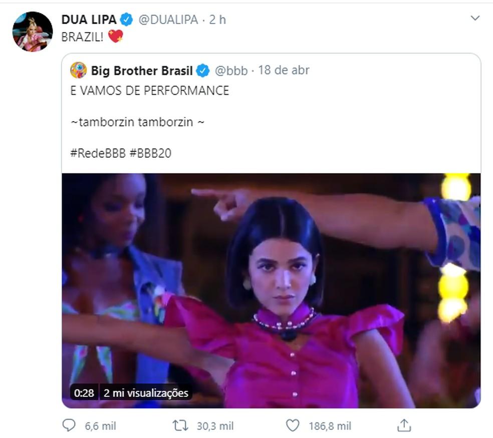 Dua Lipa comenta coreografia de Manu Gavassi de sua música — Foto: Reprodução/Twitter