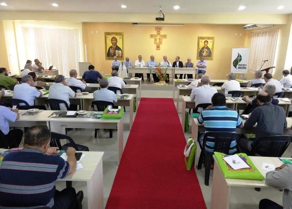 Bispos da Amazônia se reuniram em Belém entre 28 e 30 de agosto para discutir a região. — Foto: Leonardo Monteiro/Arquidiocese de Belém