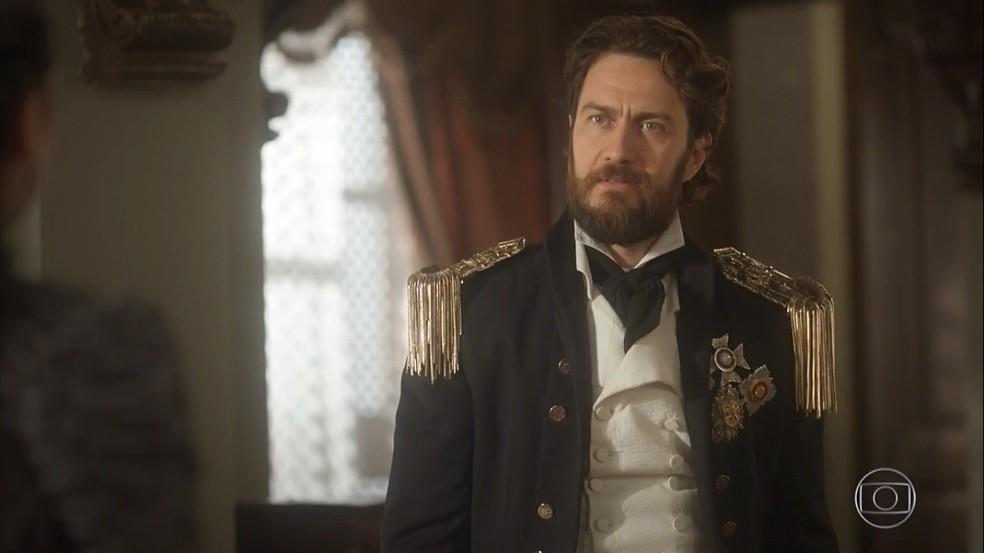 A falsidade de Thomas (Gabriel Braga Nunes) diante das acusações de Anna (Isabelle Drummond), em 'Novo Mundo' — Foto: TV Globo