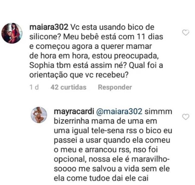 Mayra Cardi responde fãs (Foto: Reprodução)