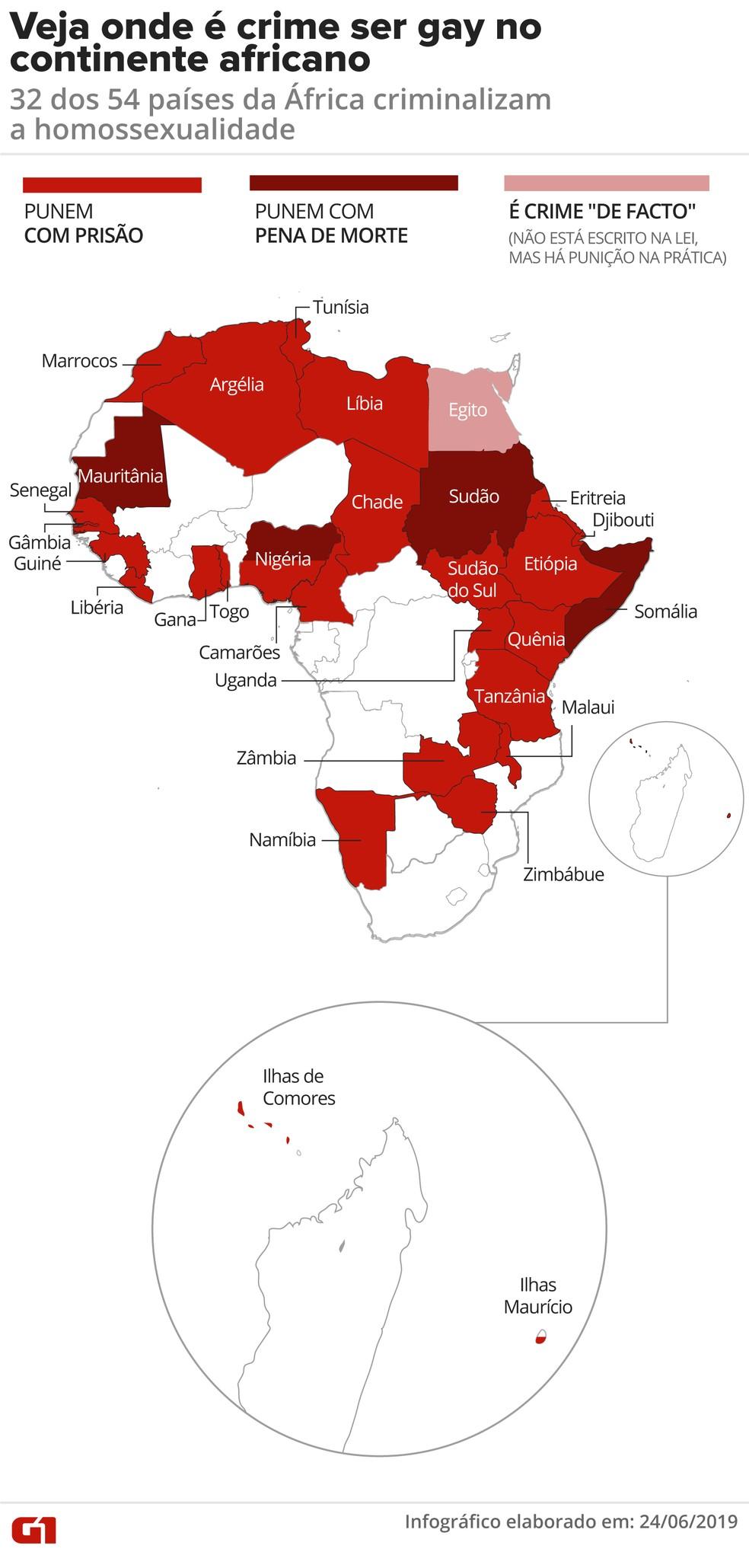 Ser gay ainda é crime em 32 dos 54 países da África, mesmo após a descriminalização em Botsuana — Foto: Juliane Monteiro/G1