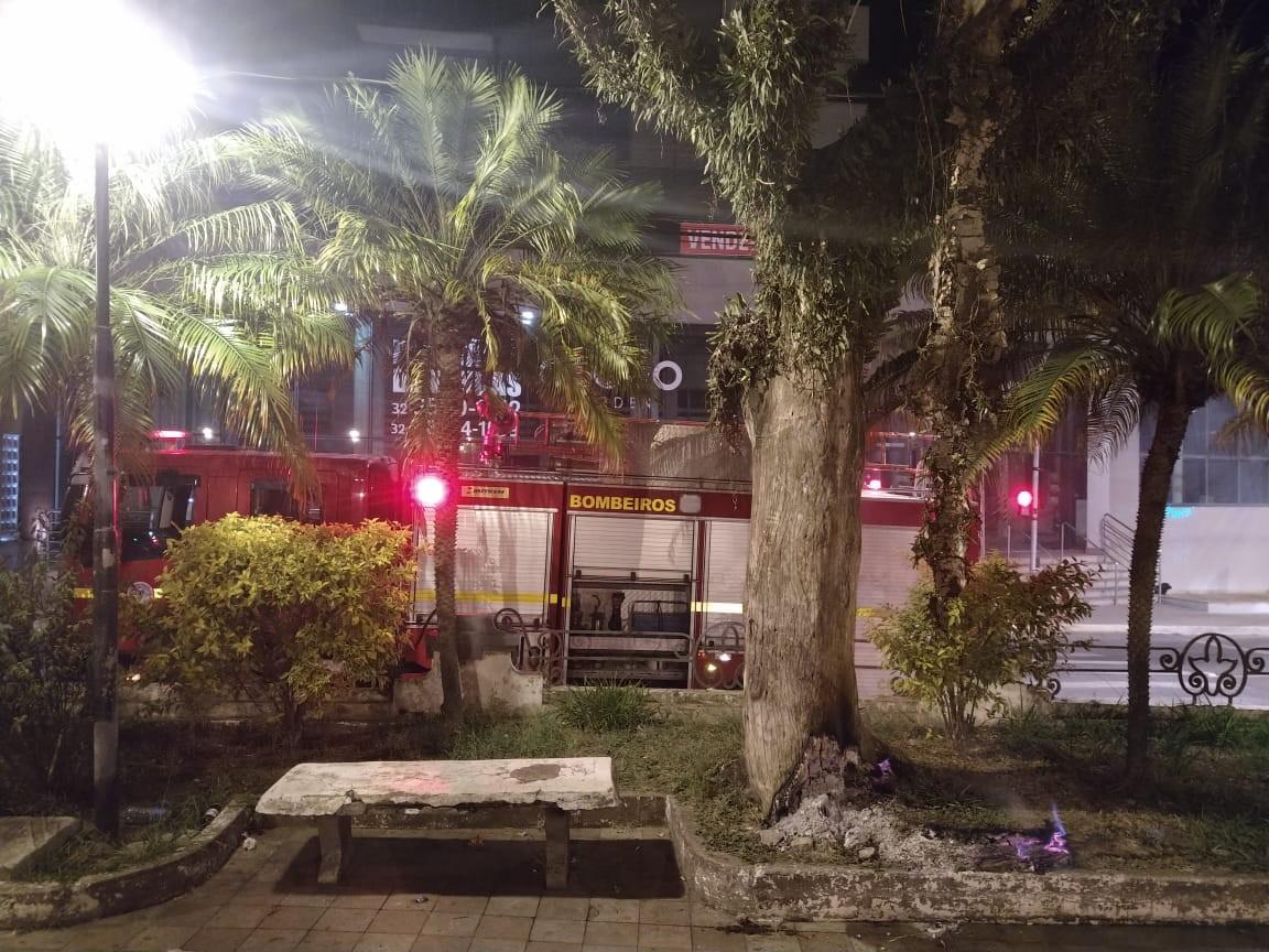 Bombeiros apagam incêndio em tronco de árvore em praça de Barbacena