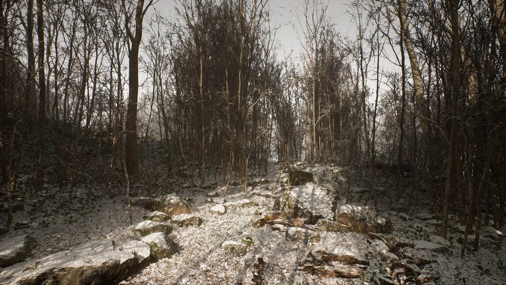 Abandoned se passa em uma floresta coberta pela neve e distante da civilização — Foto: Divulgação/Blue Box Game Studio