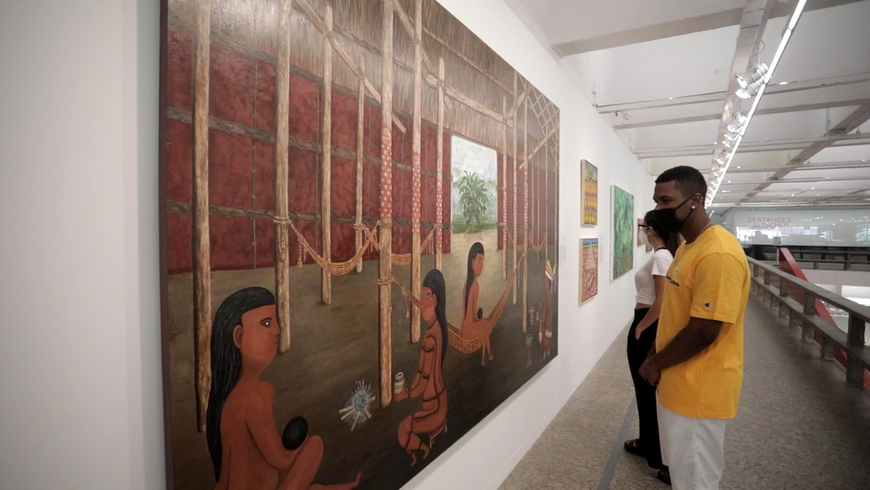 Quadro da artista indígena amazonense está em exposição no Museu de Arte de São Paulo desde o dia 28 de agosto. — Foto: Divulgação