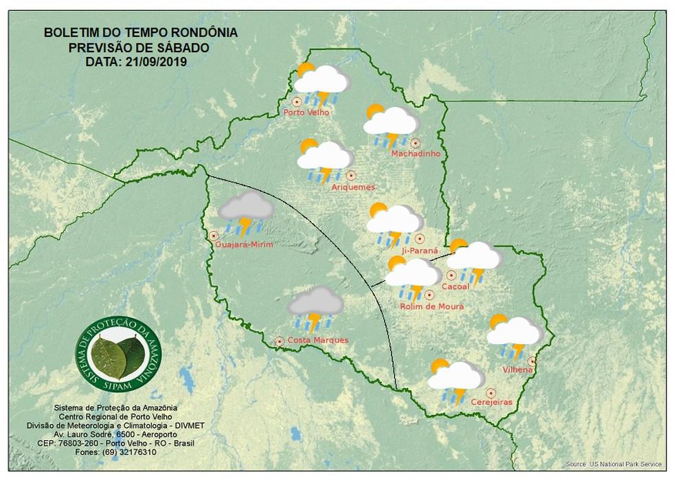 Previsão do tempo para o sábado (21) em Rondônia — Foto: Sipam/Divulgação