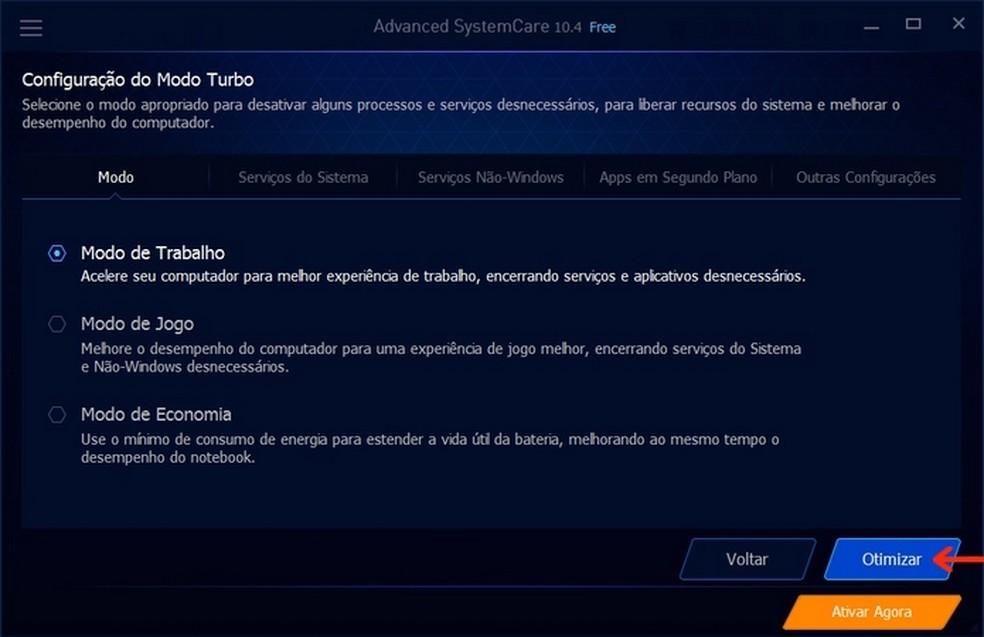Seleção do modo de trabalho do Advanced SystemCare para otimização do Windows (Foto: Reprodução/Raquel Freire)