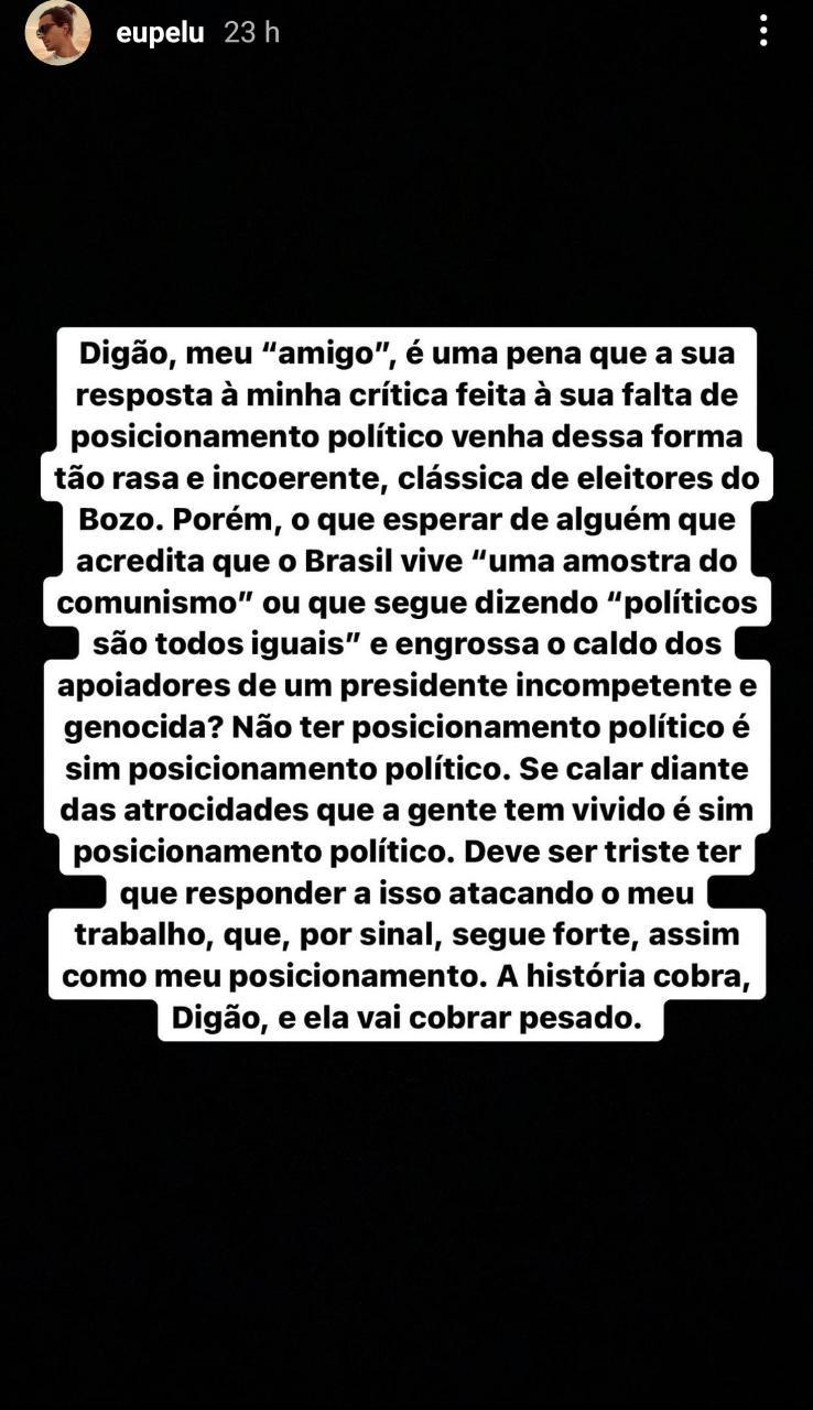 Pe Lu critica Digão (Foto: Reprodução: Instagram)