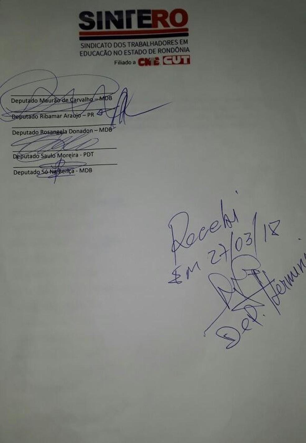 Documento assinado pelos deputados, divulgado pelo Sintero (Foto: Sintero)