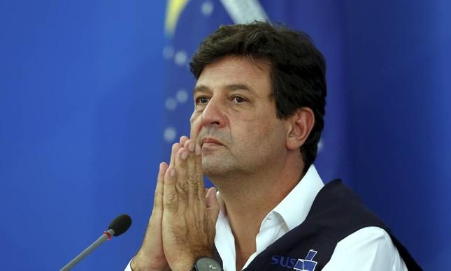 O ex-ministro da Saúde, Luiz Henrique Mandetta, durante entrevista coletiva quando ainda estava no ministério
