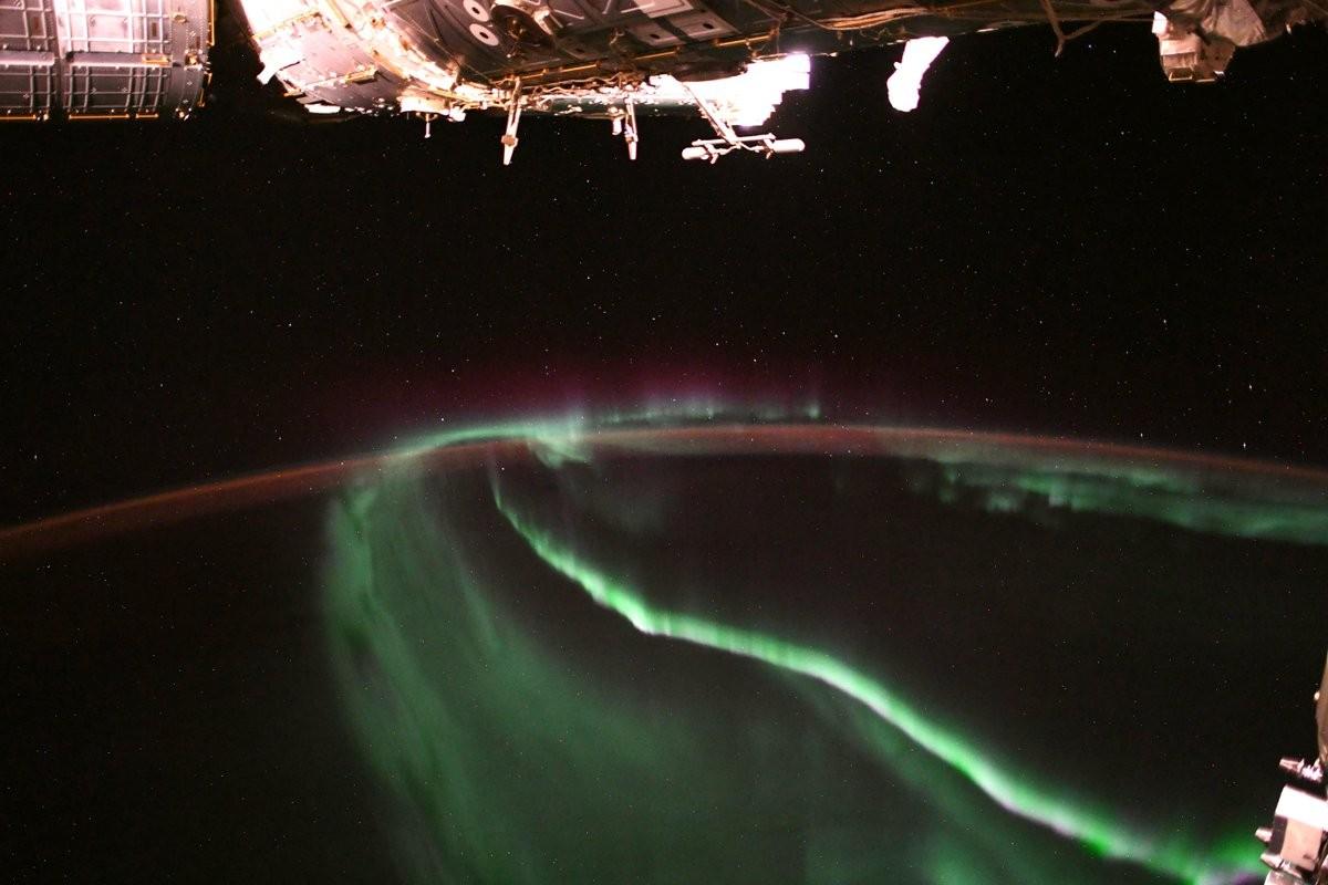 Aurora Boreal vista do espaço (Foto: Alexander Gerst)