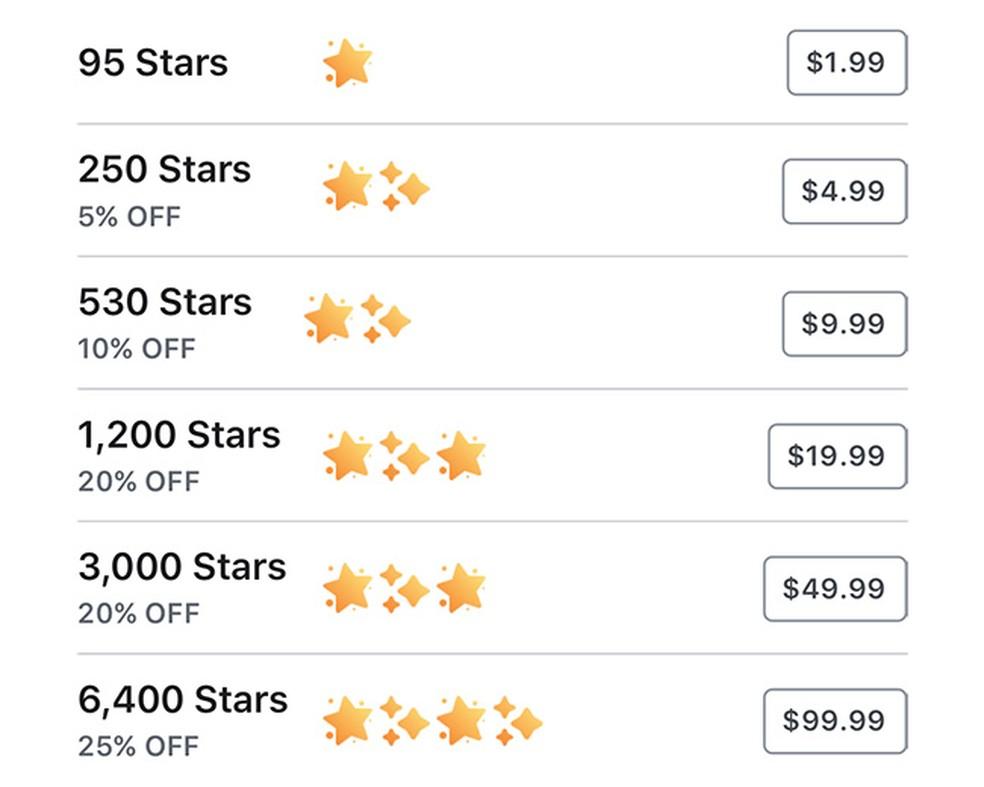 Quantidade de estrelas que pode ser enviada e o preço correspondente em dólares — Foto: Divulgação/Facebook