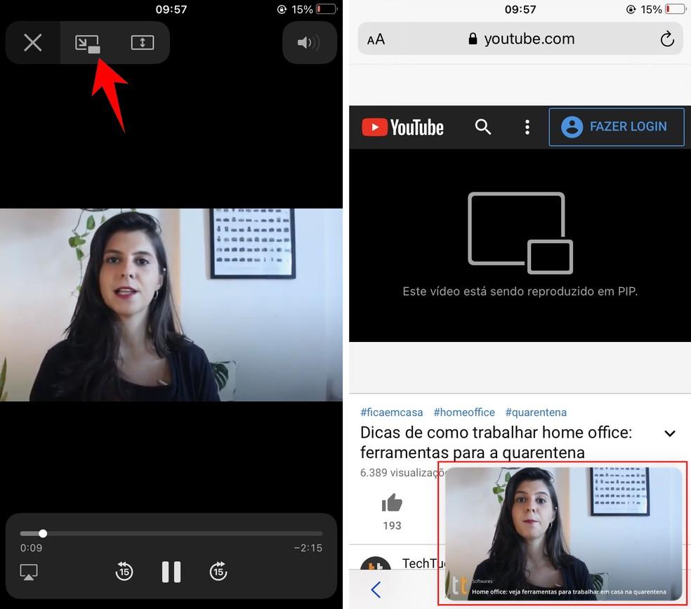 Colocando vídeo em PiP no YouTube pelo navegador do iPhone — Foto: Reprodução/Rodrigo Fernandes