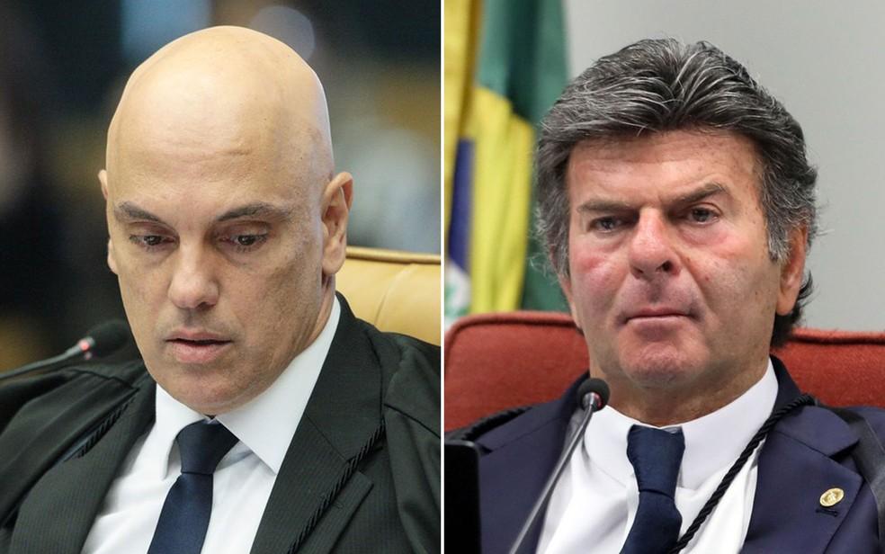 Ministros Alexandre de Moraes e Luiz Fux — Foto: Carlos Moura e Nelson Jr. / SCO / STF