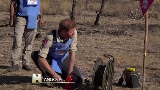 Príncipe Harry visita projeto para acabar com minas terrestres, em Angola