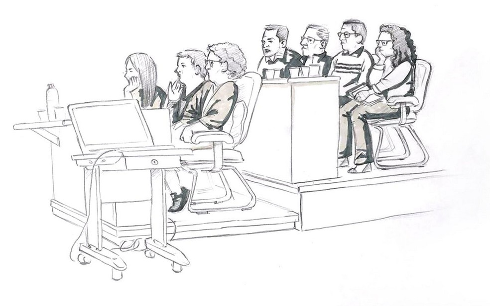 Ilustração mostra o júri de Elize Matsunaga formado por quatro mulheres e três homens (Foto: Roberta Jaworski/Editoria de Arte/G1)