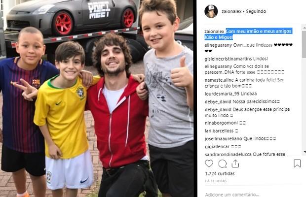 Seguidores deixam mensagem no pos de Záion (Foto: Reprodução/Instagram)
