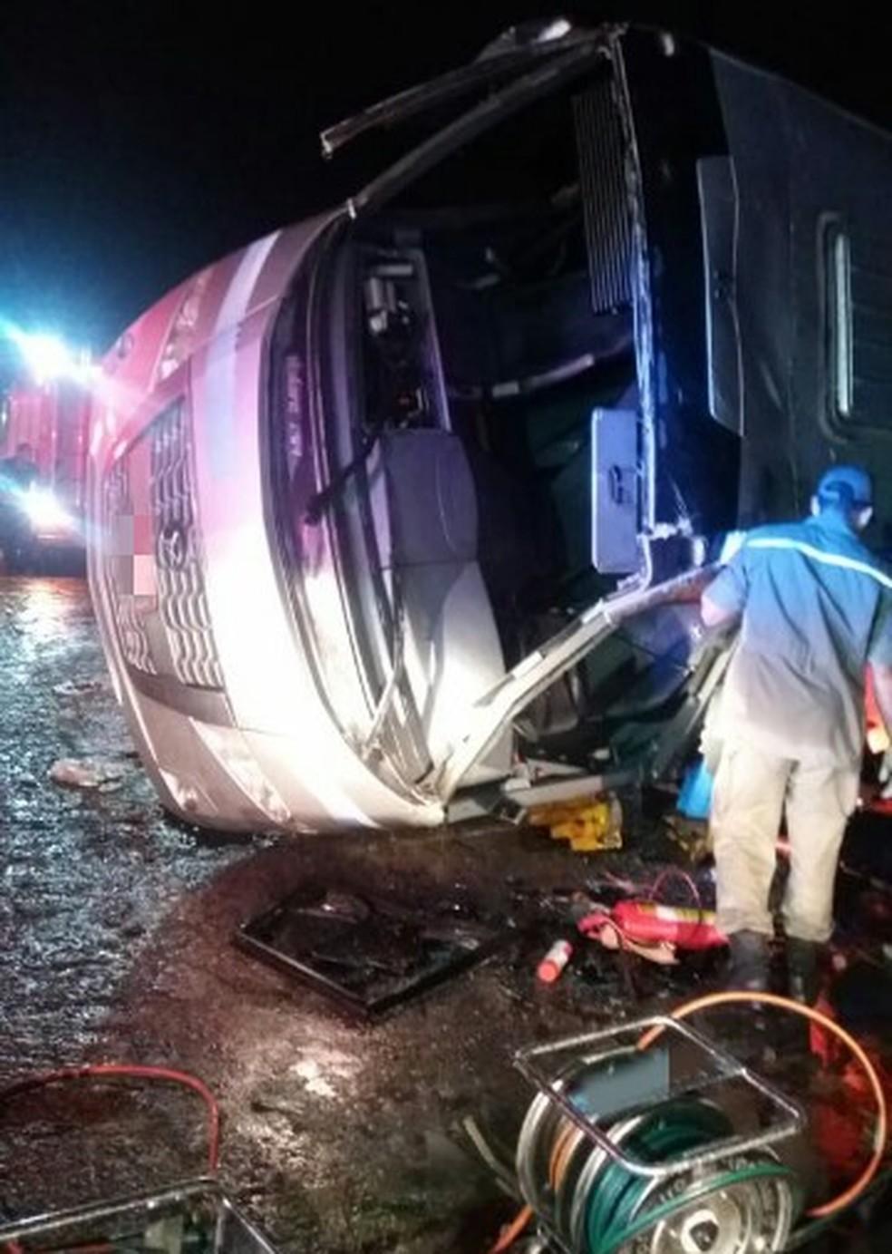Micro-ônibus tombou na BR-101, próximo a fábrica da Vitarella, em Jaboatão, no Grande Recife, na noite de quarta-feira (16) (Foto: PRF/Divulgação)